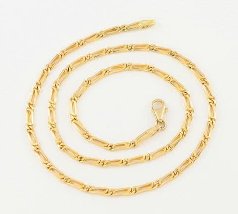 Vintage 18Ct Gold Flat Double Cable Link Neck Chain Necklace 17 3/4''